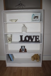 Vintage solid teak bookcase painted in Annie Sloan Old White waxed and distressed. Super strong sturdy piece.