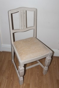 Vintage chair painted in Annie Sloan Old Ochre waxed and distressed Gorgeous intricate details c 1920 reupholstered in lovely beige fabric