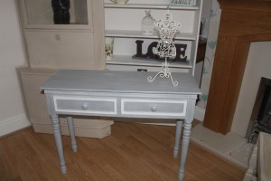 Pretty console table with two drawers painted in Annie Sloan Paris Grey and Old White waxed and lightly distressed