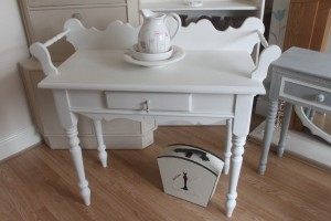Stunning Solid Pine Victorian style washstand with towel rail painted in Annie Sloan Old White waxed and to be distressed with original vintage handle