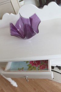 Beautiful Purple Hankerchief vase on washstand with pretty drawers and vintage handles