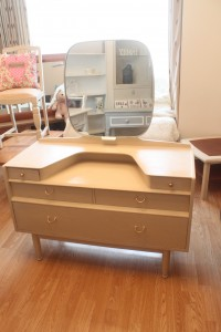 Stunning 1950 E Gomme original  Vintage dressing table with jewellery and make up drawers with tilt mirror painted in Annie Sloan Old ochre waxed and distressed with all original fittings