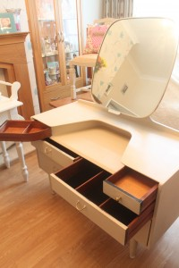 E Gomme original  Vintage dressing table with jewellery and make up drawers with tilt mirror painted in Annie Sloan Old ochre waxed and distressed with all original fittings