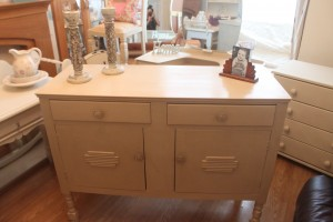 1930 Vintage sideboard painted in Annie Sloan Old ochre waxed and ready to be distressed as desired