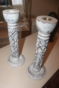 Vintage Candle sticks Painted in Annie Sloan original waxed and distressed