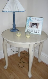 Gorgeous side table painted in Annie Sloan Old Ocre waxed and distressed Top has an extra coat of Briwax for extra durability and a lovely finish 21 inches high and 24 inches in diameter Really lovely shabby chic piece £40